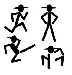 running standing kicking man vector image