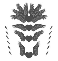 Set of of hearts with wings vector