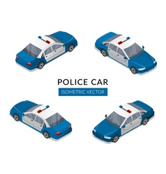 Set with flat isolated police car icons vector image