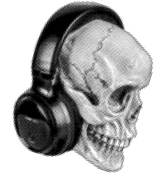 skull in headphones halftone vector image vector image