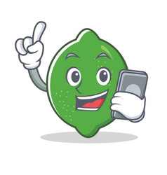 with phone lime character cartoon style vector image