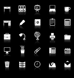 workspace icons with reflect on black background vector image vector image