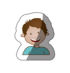 color sticker happy boy icon vector image vector image