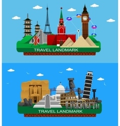 famous world landmarks vector image