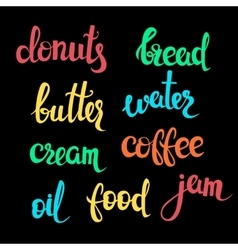 Food theme lettering vector image