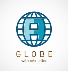 Globe net with A letter inside sign Corporate logo vector image vector image