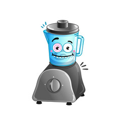 happy kitchen blender cartoon character vector image