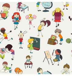 School kids doodle seamless pattern vector