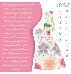 Wedding invitaton with bride silhouette vintage vector image vector image