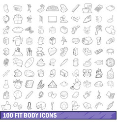 100 fit body icons set outline style vector image
