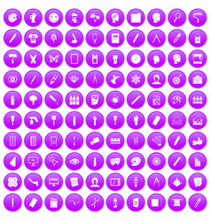 100 paint icons set purple vector