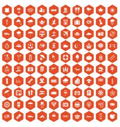 100 umbrella icons hexagon orange vector