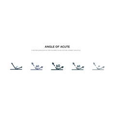 Angle acute icon in different style two vector