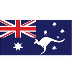 Australian flag with white kangaroo silhouette vector