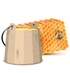 Barrel with Honeycombs vector image