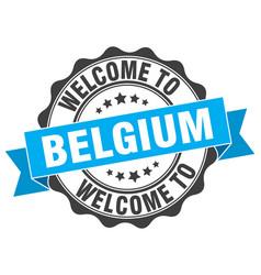 Belgium round ribbon seal vector