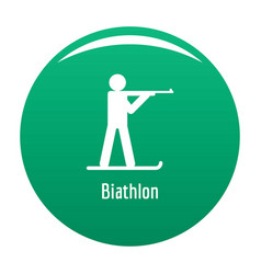 Biathlon icon green vector
