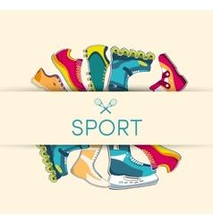 big collection set of sport shoe equpment vector image