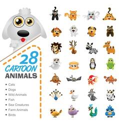 big set various cartoon animals and birds vector image