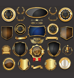 Blank golden frame badge and label collection 4 vector
