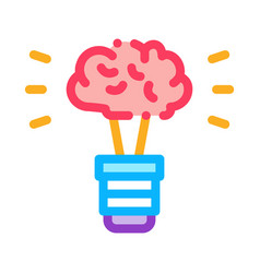 brain idea lamp icon outline vector image