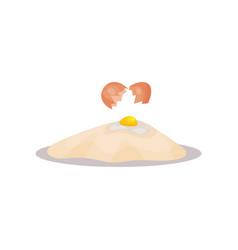 Broken raw egg and flour baking ingredients vector