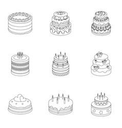 Cakes for holidays a set different sweets vector