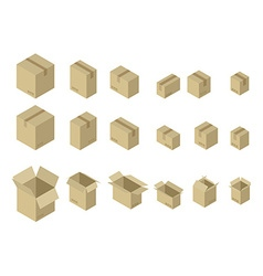 Cardboard box isometrics set Different variants of vector