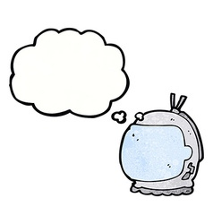 Cartoon astronaut helmet with thought bubble vector