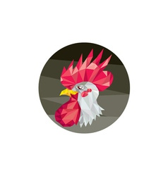 Chicken Rooster Head Side Low Polygon vector
