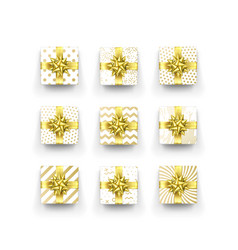 christmas gift box or present with golden ribbon vector image