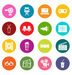 cinema icons set colorful circles vector image
