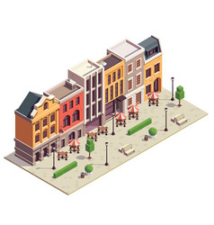 City street isometric composition vector