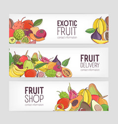 collection of horizontal banners decorated with vector image