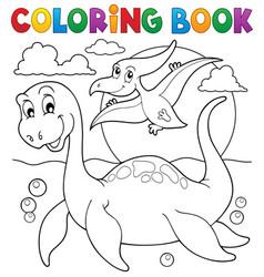 coloring book dinosaur theme 7 vector image