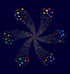 Confetti stars curl flower with six petals vector