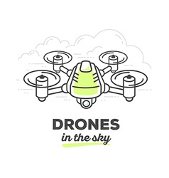 Creative drone with text on white backgro vector