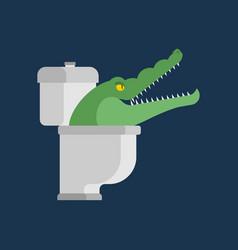 Crocodile in toilet alligator in sewer predator vector