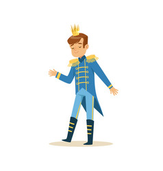Cute little boy wearing a blue prince costume vector