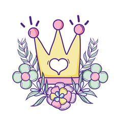 cute queen crown cartoon vector image