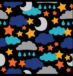 dark black sun moon stars and clouds vector image