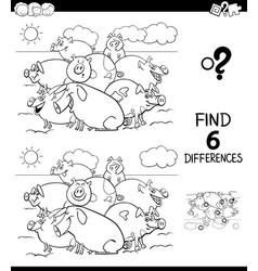 Differences color book with pigs animal characters vector