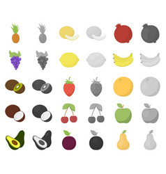 Different fruits cartoonmonochrom icons in set vector