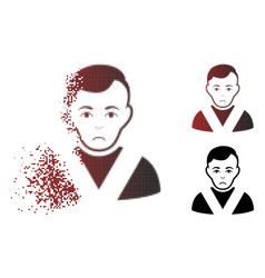 Dolor dispersed pixel halftone awarded man icon vector