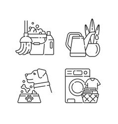 Domestic chores linear icons set vector
