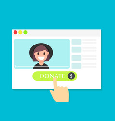 Donate button money for videobloggers vector