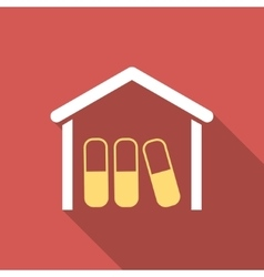 Drugs Garage Flat Square Icon with Long Shadow vector