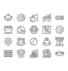 Efficiency line icon set vector