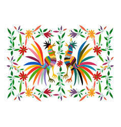 Ethnic mexican tapestry embroidery otomi style vector