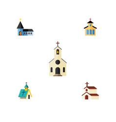Flat icon building set of catholic religion vector